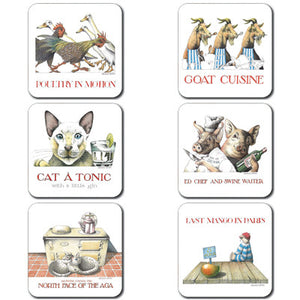 Poultry, Goat, Catatonic, Ed Chef, Aga, Mango - Coaster set of 6<br>(Pack of 2)