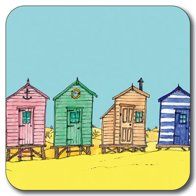 Beach Huts in a Row Coaster<br>(Pack of 10)