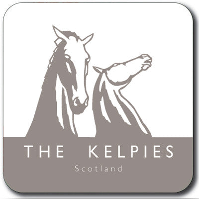 Kelpies Taupe Logo Square Coaster<br>(Pack of 10)