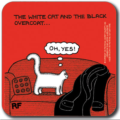 The white cat and the black coat Coaster<br>(Pack of 10)