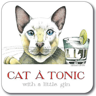 Simon Drew - Coaster<br>(Pack of 10) - Cat a Tonic Coaster<br>(Pack of 10)