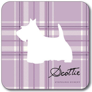 Pink Tartan Scottie  Coaster<br>(Pack of 10)