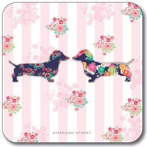 Floral Dachshund Pink Stripe Coaster<br>(Pack of 10)