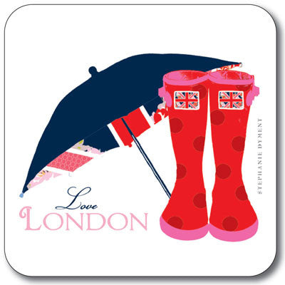Union Jack Brolly & Wellies  Coaster<br>(Pack of 10)