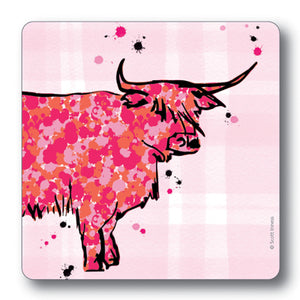 Highland Cow Tartan Background Coaster<br>(Pack of 10)