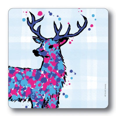 Stag Tartan Background Coaster<br>(Pack of 10)