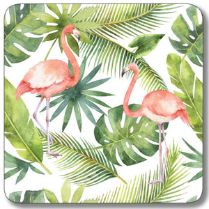 Flamingo with Leaf Background Coaster<br>(Pack of 10)