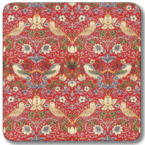 Strawberry Thief Red Coaster<br>(Pack of 10)
