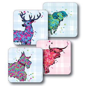 Mixed Animals Tartan Background Coaster Set of 4<br>(Pack of 4)