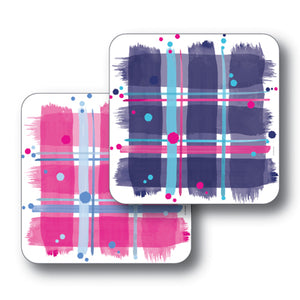 Pink and Navy Tartans Coaster Set of 2<br>(Pack of 4)