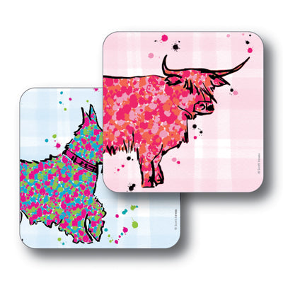 Scottie Dog and Highland Cow Coaster Set of 2<br>(Pack of 4)
