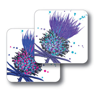 Blue and Purple Thistles Coaster Set of 2<br>(Pack of 4)