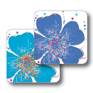 Light and Dark Blue Roses Coaster Set of 2<br>(Pack of 4)