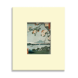 Suijin Shrine and Massaki on the Sumida River, No. 35 from One Hundred Famous Views of Edo - Mounted print (Pack of 5)