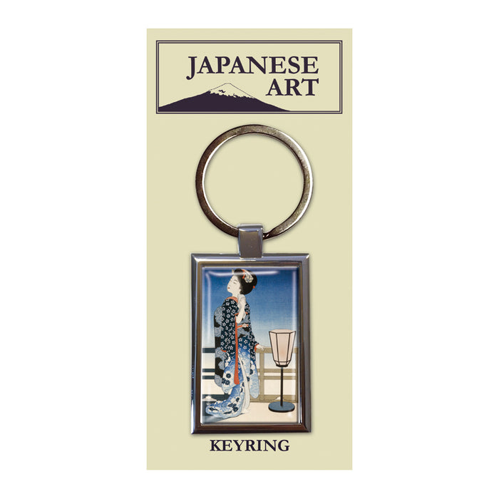Maiko Admiring the Moon Metal Keyring<br>(Pack of 10)