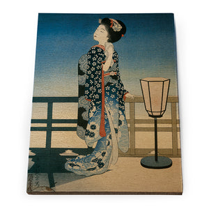 Maiko Admiring the Moon Wooden Postcard<br>(Pack of 10)