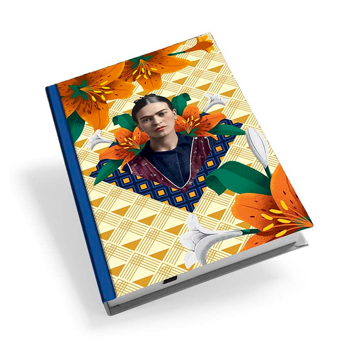 Frida Kahlo Orange Floral Hardback Journal<br>(Pack of 5)