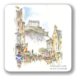 Edinburgh Castle from Castle Street Coaster<br>(Pack of 10)