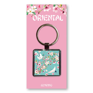Oriental Crane - Metal Keyring<br>(Pack of 10)
