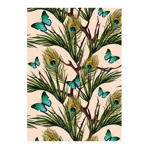 Peacock Feathers and Butterflies - Notecard Set (Pack of 5)