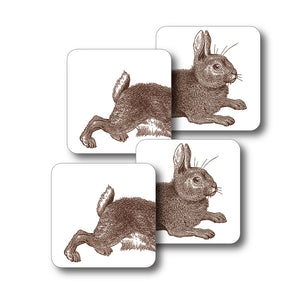 Rabbit and Cabbage Coaster Set of 4<br>(Pack of 4)