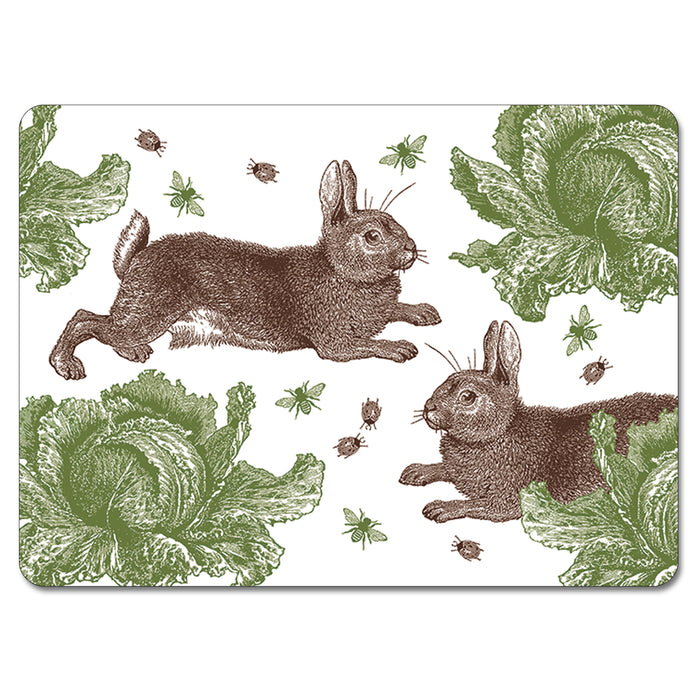 Rabbit and Cabbage Tablemat Set of 4<br>(Pack of 2)