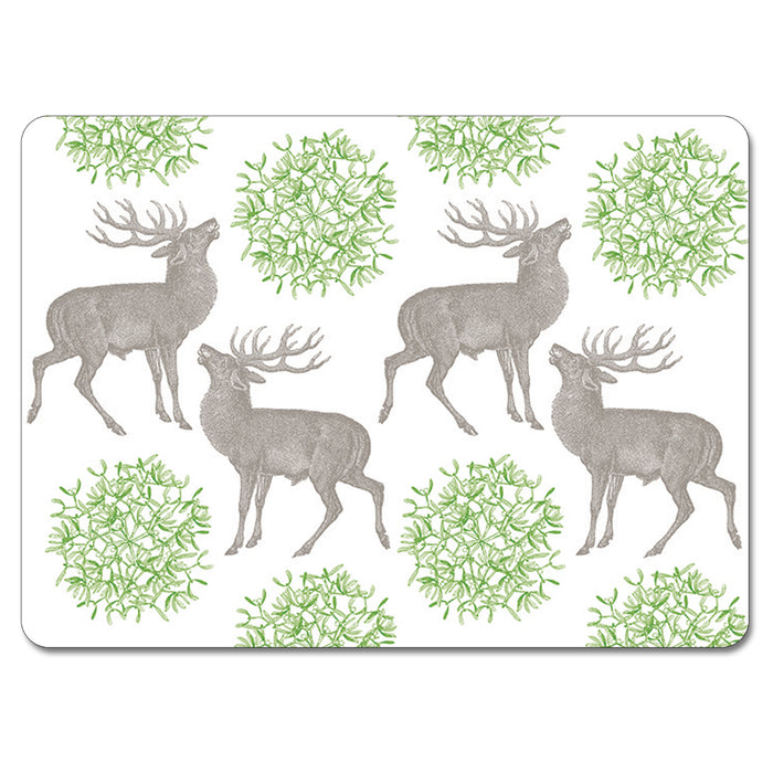 Stag and Mistletoe Tablemat Set of 4<br>(Pack of 2)