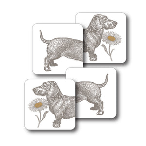 Dog and Daisy Coaster Set of 4<br>(Pack of 4)