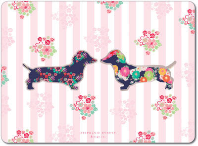 Floral Dachshund Pink Stripe Tablemats<br>(Pack of 10)