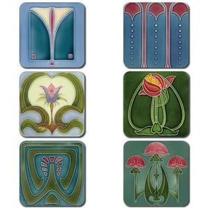 Art Nouveau Tiles - Coasterset of 6 <br>(Pack of 4)