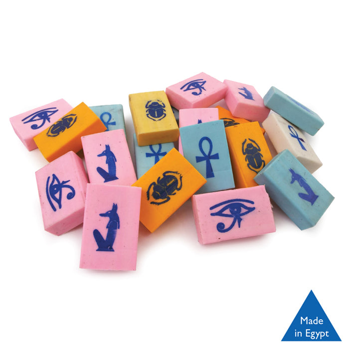 Egyptian Hieroglyphic - Erasers<br>(Packs of 5)
