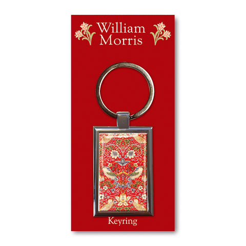Strawberry Thief Red Metal Keyring<br>(Pack of 10)