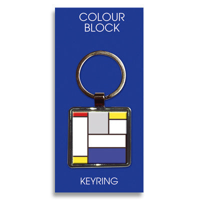 Large Blue Block Metal Keyring<br>(Pack of 10)