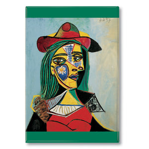 Woman in Hat and Fur Collar Fridge Magnet<br>(Pack of 10)