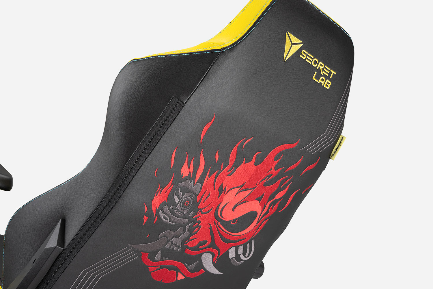 Angled detail view of back of Secretlab TITAN Cyberpunk 2077 edition gaming chair