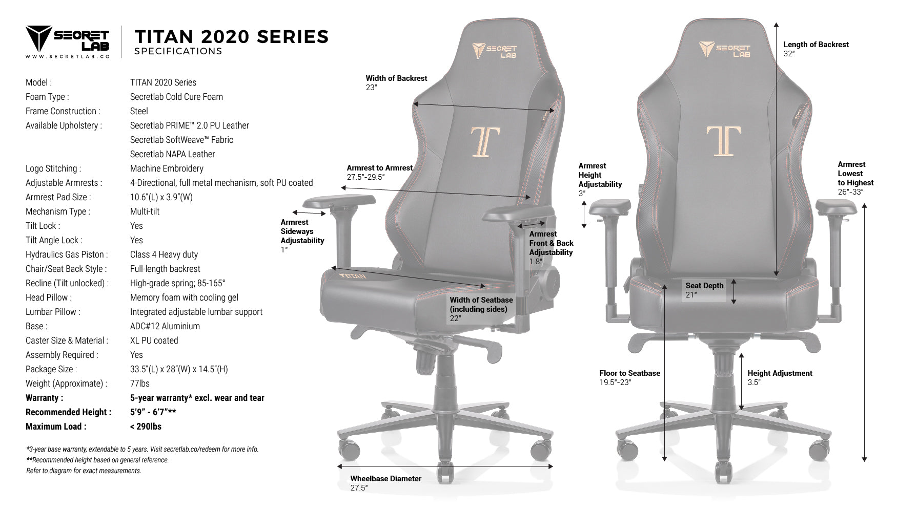Secretlab TITAN 2020 Measurements