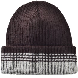 Striped Toboggan Hat - Brown