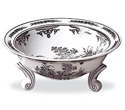 Black and White Bowl with Feet