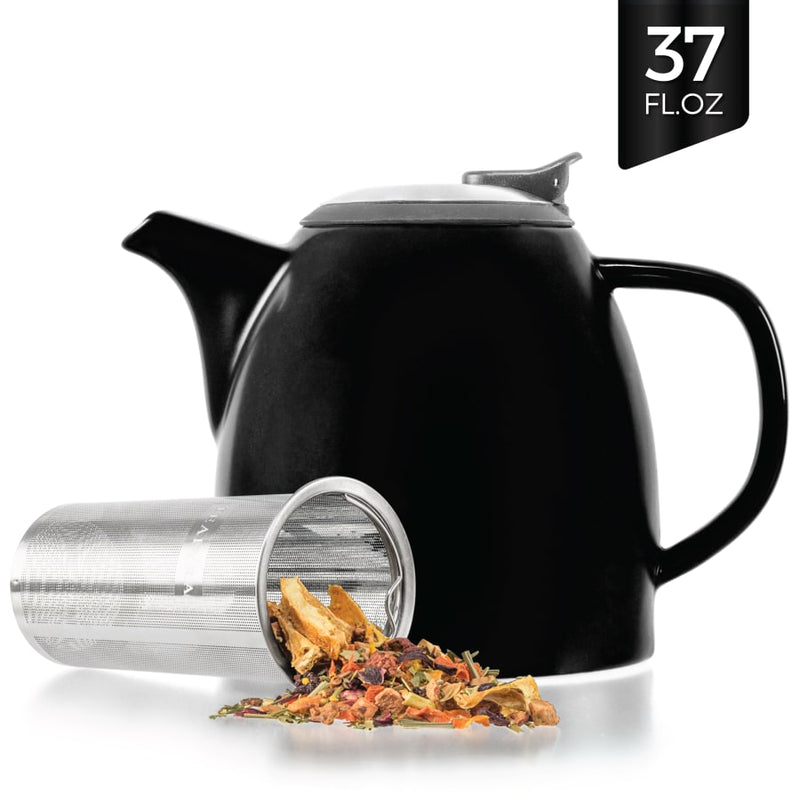 Black Ceramic Teapot with Infuser (37 oz.)