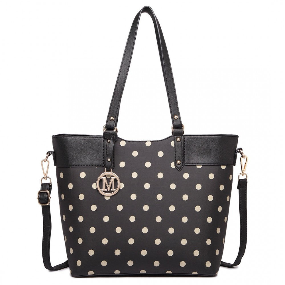 Polka Dot Print Tote Bag - Black