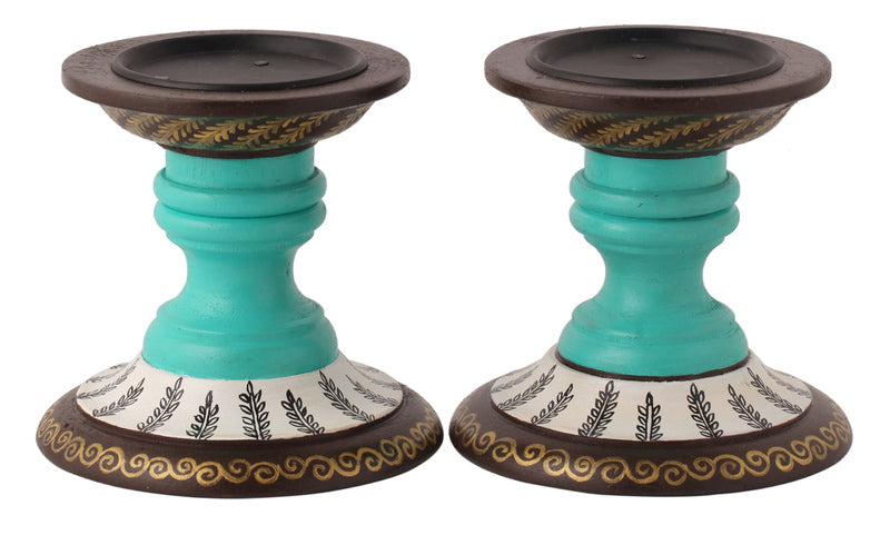 Hand Painted Teal Wood Candle Holder