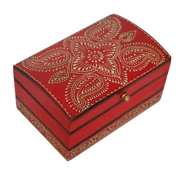 Red Wooden Storage Box