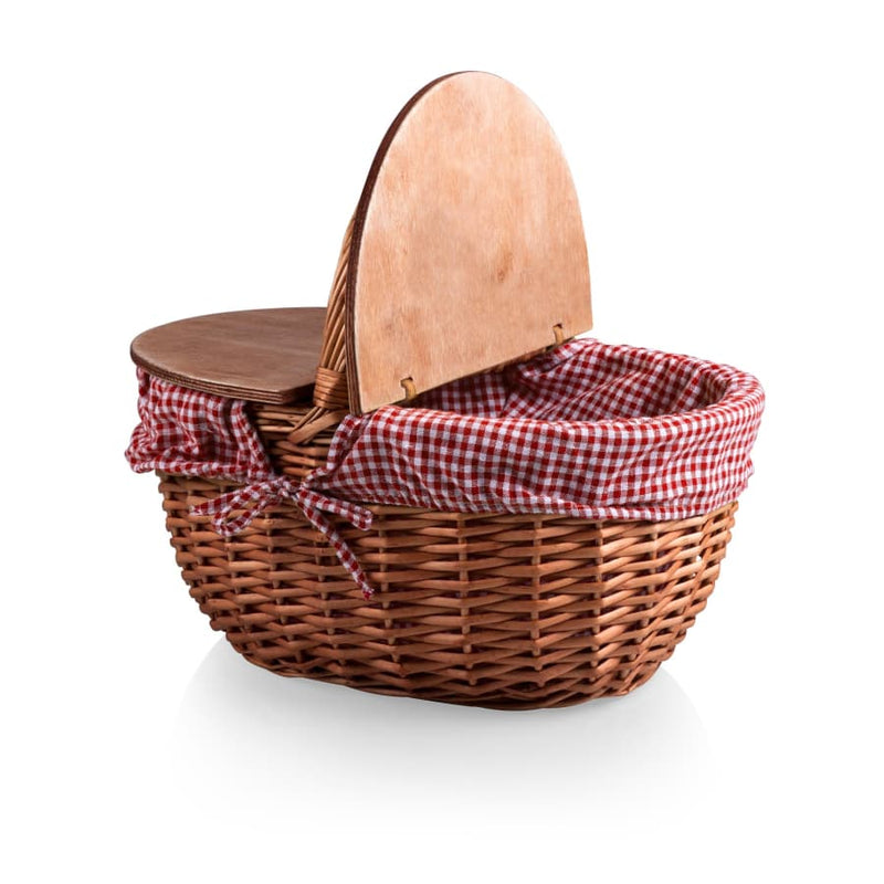 Country Picnic Basket - Red/White Gingham