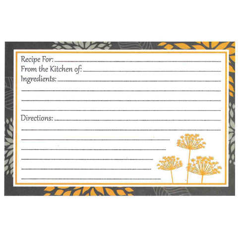 My Family Recipes Recipe Cards - Yellow and Grey