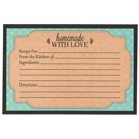 My Family Recipes Recipe Cards - Teal and Kraft