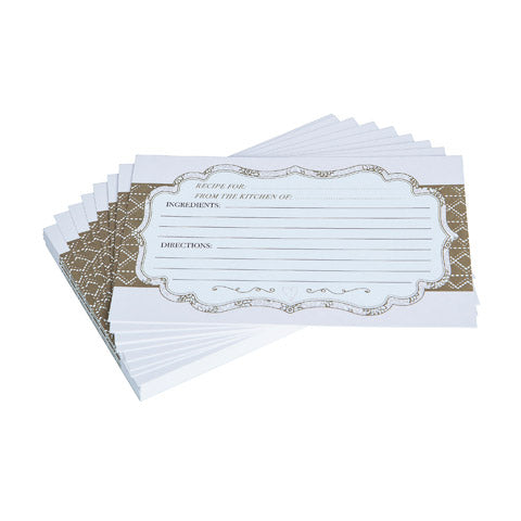 My Family Recipes Blank Recipe Cards - Pink & Brown Floral Print