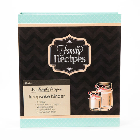My Family Recipes Recipe Binder - Teal and Black