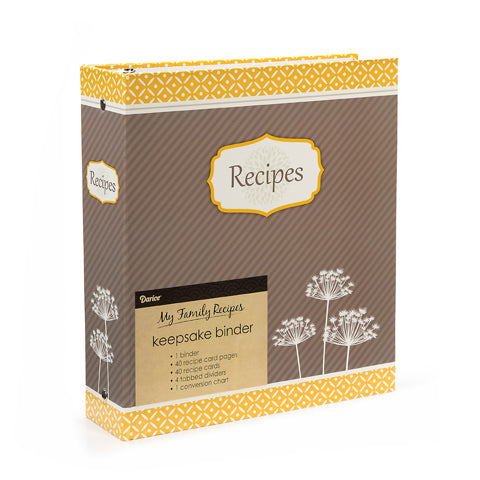 My Family Recipes Recipe Binder - Yellow and Grey