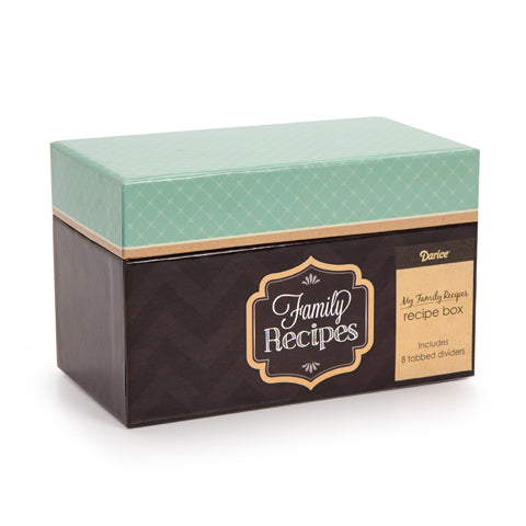 My Family Recipes Recipe Card Box - Teal and Kraft