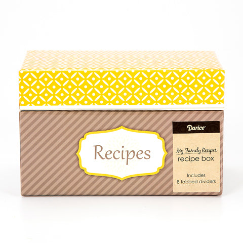 My Family Recipes Recipe Card Box - Yellow and Grey